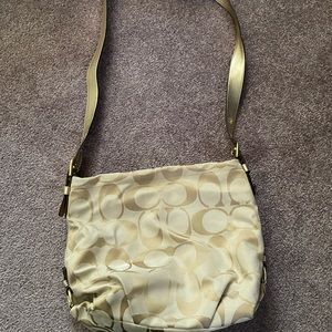 Gold and Beige coach bag